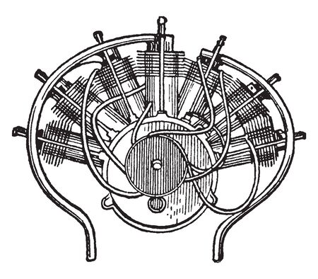 Gas Engine is an internal combustion engine which runs on a gas fuel, vintage line drawing or engraving illustration.