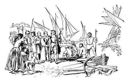 Christopher Columbus departure from spain, palos for his first voyage,vintage line drawing or engraving illustration. Ilustração