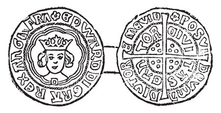 Coin of Edward IV Irish silver into coins which could circulate freely in England, vintage line drawing or engraving illustration.