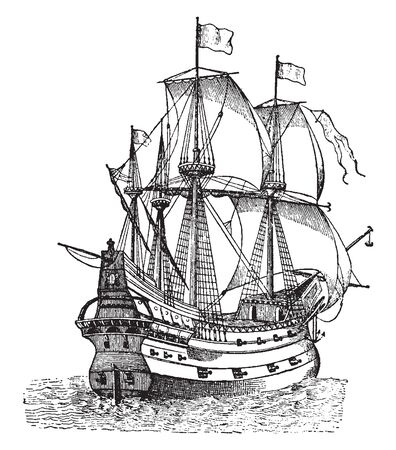 Galleon was powered entirely by wind using sails carried on three or four masts with a lateen sail continuing to be used on the last masts, vintage line drawing or engraving illustration.