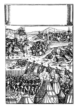 The emperor maximilian receiving the submission of a Besieged city, vintage line drawing or engraving illustration