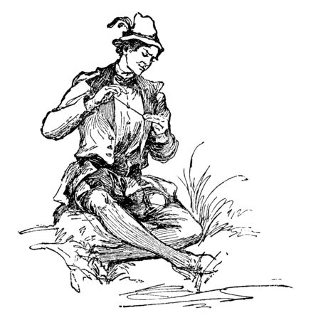 A man with feathered hat sitting down and looking at his pocket watch, vintage line drawing or engraving illustration