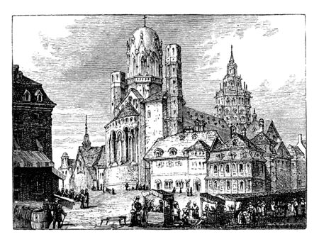 Mayence Cathedral served as the cathedral for the Bishop of Mainz until the appointment of Willigis as Archbishop of Mainz in 975, vintage line drawing or engraving illustration.