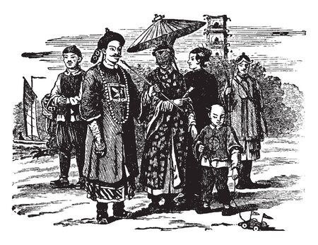 People of China are the various individuals or groups of people associated with China, vintage line drawing or engraving illustration.