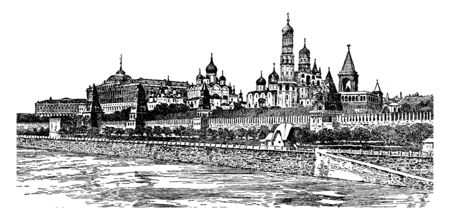 The Kremlin which includes four palaces four cathedrals and the Kremlin towers, vintage line drawing or engraving illustration.