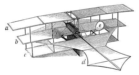 Stringfellow Flying Machine which is an early invention of the airplane, vintage line drawing or engraving illustration.