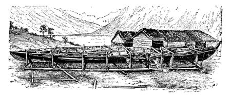 Remains of the Viking Ship Gokstad after its removal from the mound where it was found, vintage line drawing or engraving illustration.