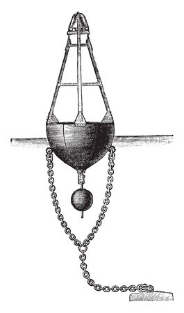 Brown Bell Buoy that sounds when the sea is rough, vintage line drawing or engraving illustration.