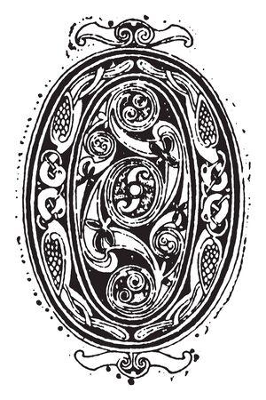 A decorative letter O, vintage line drawing or engraving illustration