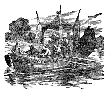 Monroe Barge, ein sehr effizienter, komfortabler und zuverlässiger Schlepper für Bagger- oder Inselkahnoperationen, Vintage-Linienzeichnung oder Gravierillustration.
