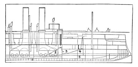 This image represents Projection Showing Position of Bow and Keel of the Maine, vintage line drawing or engraving illustration.