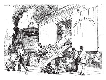 This illustration represents Unloading freight at a railway station, vintage line drawing or engraving illustration.