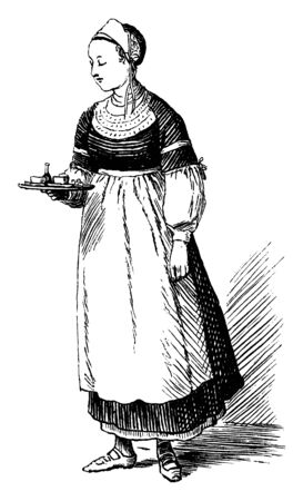 A woman holding tray, vintage line drawing or engraving illustration