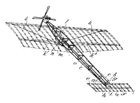 Fixed Wing Aeroplane is an aircraft which is capable of flight using wings that generate lift caused by the vehicle forward airspeed, vintage line drawing or engraving illustration.