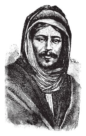 Bedouin is a grouping of nomadic Arab people who have historically inhabited the desert regions in North Africa, the Arabian Peninsula, Iraq, and the Levant, vintage line drawing or engraving illustration Ilustrace