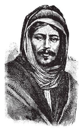 Il beduino è un gruppo di persone arabe nomadi che storicamente hanno abitato le regioni desertiche del Nord Africa, della penisola arabica, dell'Iraq e del Levante, disegno dell'annata o illustrazione incisione