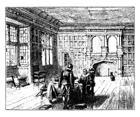 Interior of the Star Chamber was an English court of law that sat at the royal Palace of Westminster until 1641, vintage line drawing or engraving illustration. 向量圖像