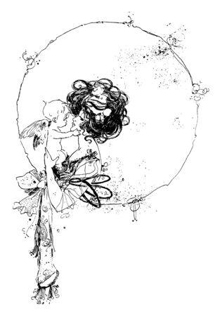 Una donna che tiene un cherubino, un disegno di linea vintage o un'illustrazione dell'incisione