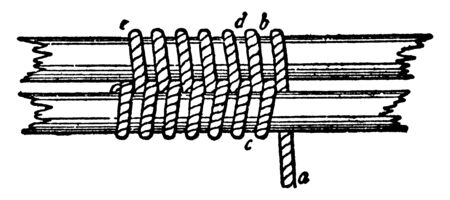 Racking Seizing is a running eye having been spliced round one part of the rope, vintage line drawing or engraving illustration.