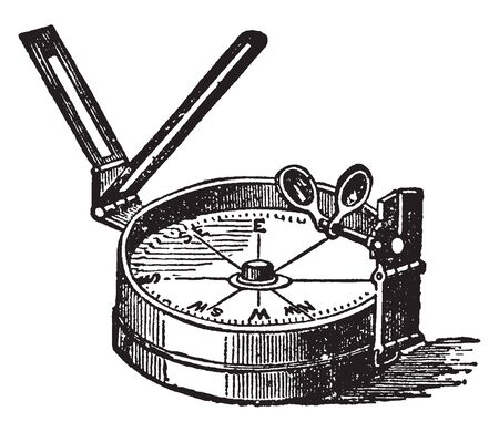 Azimuth Compass consists of a magnet with a graduated compass card attached to it, vintage line drawing or engraving illustration. Çizim