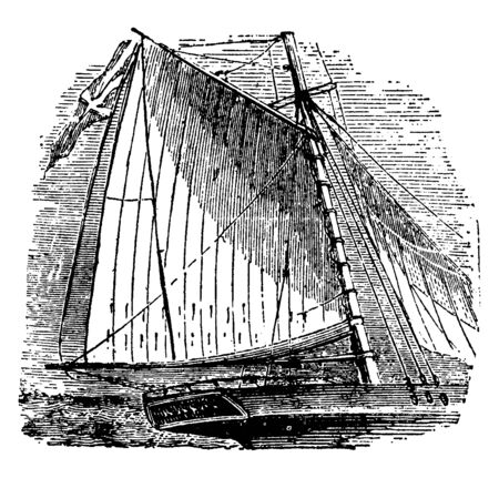 Sails is any type of surface intended to generate thrust by being placed in a wind, vintage line drawing or engraving illustration. Ilustrace