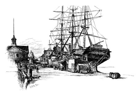 Ship Docked is an enclosed area of water where ships are loaded unloaded or repaired, vintage line drawing or engraving illustration.