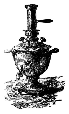Samovar is an urn kept at the table to heat and boil water in Russia commonly used to make tea, vintage line drawing or engraving illustration. Çizim