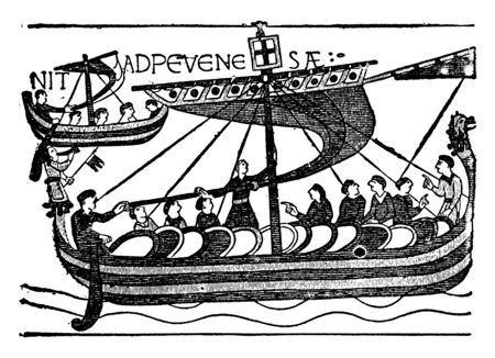 A Ship of Duke William Fleet which transported troops for the invasion of England, vintage line drawing or engraving illustration. Banque d'images - 132868943
