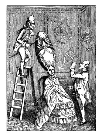 Ridiculous Taste or the Ladies Absurdity where One of the many caricatures of the extravagant fashions in headdress of both sexes during the eighteenth century, vintage line drawing or engraving illustration.