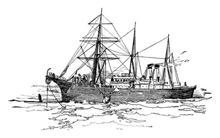 The Faraday Laying the Atlantic Cable ship built by the Siemens Brothers Company in 1874, vintage line drawing or engraving illustration.
