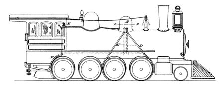 Track Sanding Apparatus is a motor vehicle wheel track sanding device including a sand storage tank, vintage line drawing or engraving illustration. 向量圖像
