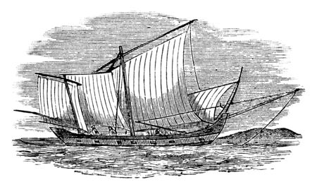 Annam which is used narrow flat bottomed fishing boat having an outrigger, vintage line drawing or engraving illustration.