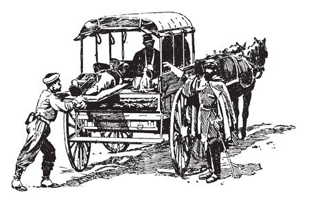 Army Ambulance was a unit of the United States Army during World War I, vintage line drawing or engraving illustration. Çizim