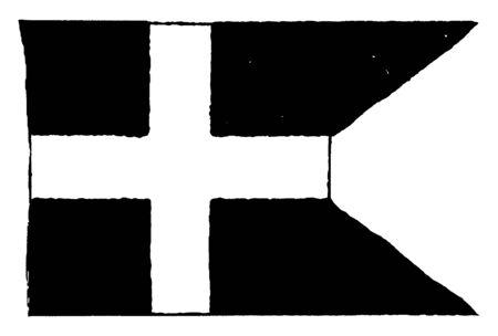 This image represents Royal Navy Flag of Denmark, vintage line drawing or engraving illustration. Reklamní fotografie - 133360663