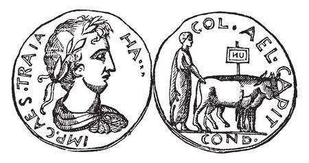 Medal of Jerusalem which was a colonist driving oxen with a military insignia, vintage line drawing or engraving illustration.