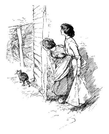 Two women peeking around a corner of house and cat walking, vintage line drawing or engraving illustration