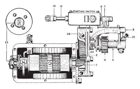 Gray and Davis Motor with reduction gearing for open flywheel, vintage line drawing or engraving illustration.