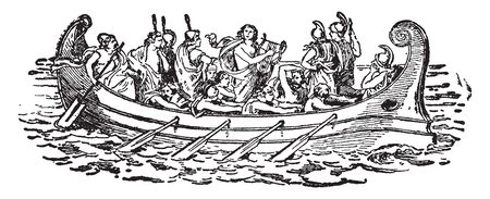Greek Boat where a group of Greeks rowing a boat, vintage line drawing or engraving illustration. Stockfoto - 132870215