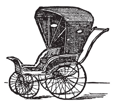 Carriage is a vehicle especially for pleasure or for passengers, vintage line drawing or engraving illustration.