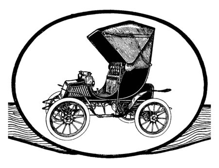 Electric Victoria Phaeoton built by the Studebaker company, vintage line drawing or engraving illustration.
