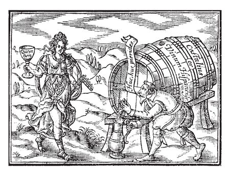 A man pouring ale out of barrel and person standing near him holding wine glass in hand, vintage line drawing or engraving illustration