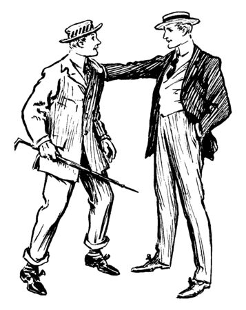 Two men talking and one of them holding stick in hand, vintage line drawing or engraving illustration
