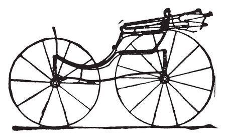 Ladies Phaeton which is modern fashionable carriages and vehicles in general use, vintage line drawing or engraving illustration. Vector Illustration