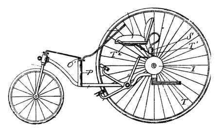Three Wheeled Vehicle while tricycles are often associated with the small three wheeled vehicles, vintage line drawing or engraving illustration.