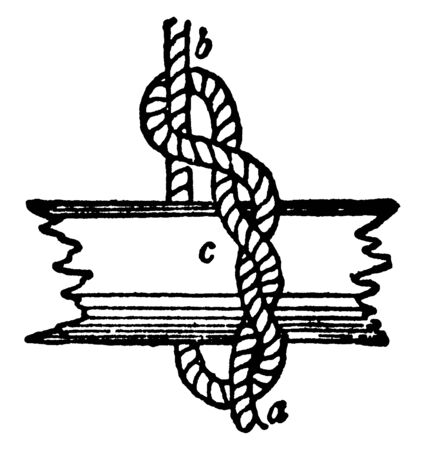 Timber Hitch is a knot used to attach a single length of rope to a cylindrical object, vintage line drawing or engraving illustration.  イラスト・ベクター素材