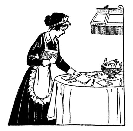 A maid setting the table, vintage line drawing or engraving illustration