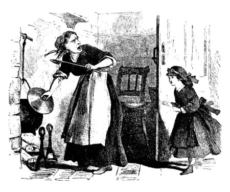 A woman cooking while yelling at child, vintage line drawing or engraving illustration Çizim