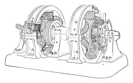 Motor Driven Booster is a motor generator set that regulates voltage in DC circuits, vintage line drawing or engraving illustration. Banco de Imagens - 132876191