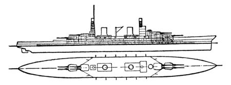 Russian Navy Battleship which can never be fully agreed upon in the absence of greater data availability, vintage line drawing or engraving illustration.