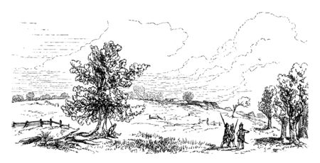 View of Bunker hill few days after the battle,vintage line drawing or engraving illustration